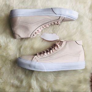 Vans sk8 hi leather whisper pink sneakers